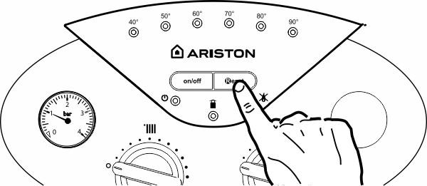 Панель управления котлом Ariston bs 24 кнопка Reset