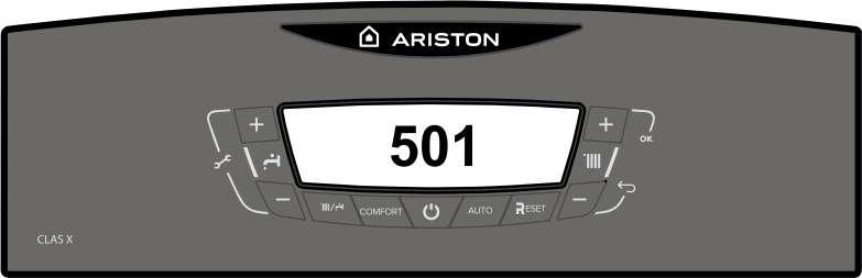 Отображение ошибки 501 в котле Ariston