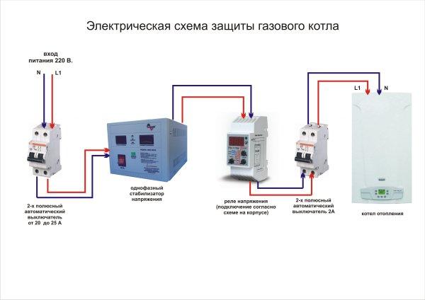 Электрическая схема защиты газового котла
