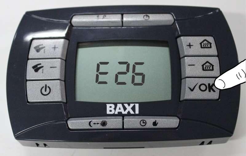 Кнопка Reset сброса ошибки Е 26 на панели управления газовым котлом Baxi