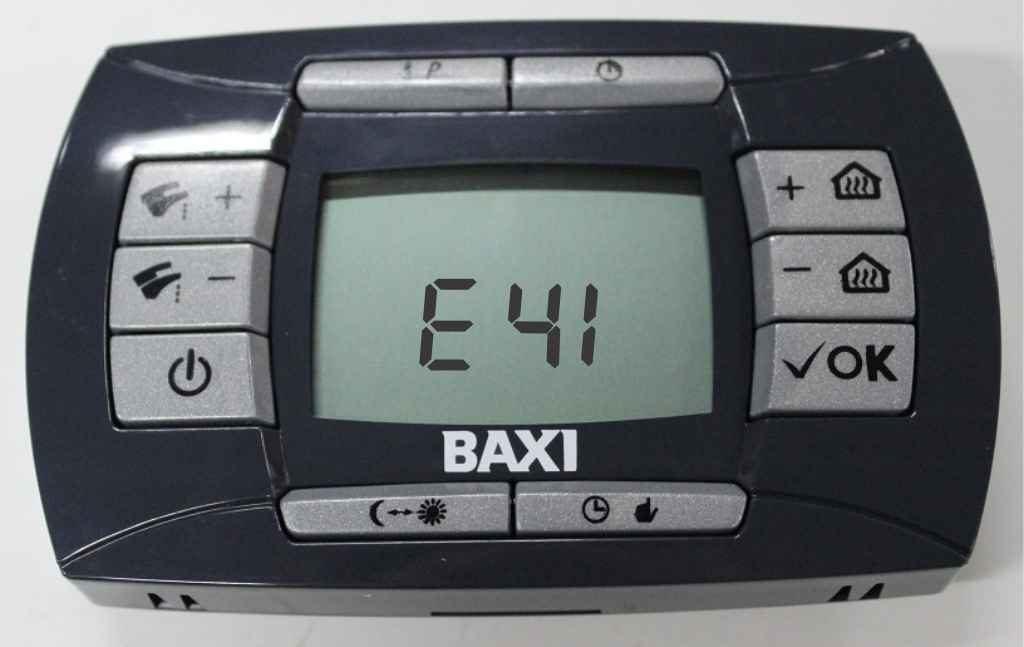 Ошибка е 41 на панели управления котлом baxi