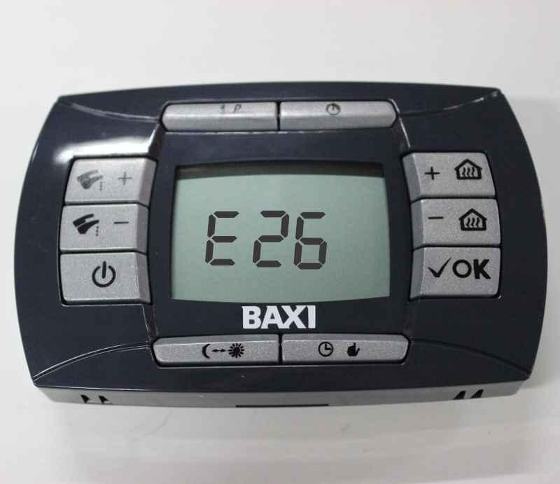 Ошибка е26 на панели управления газовым котлом Baxi LUNA 3 comfort