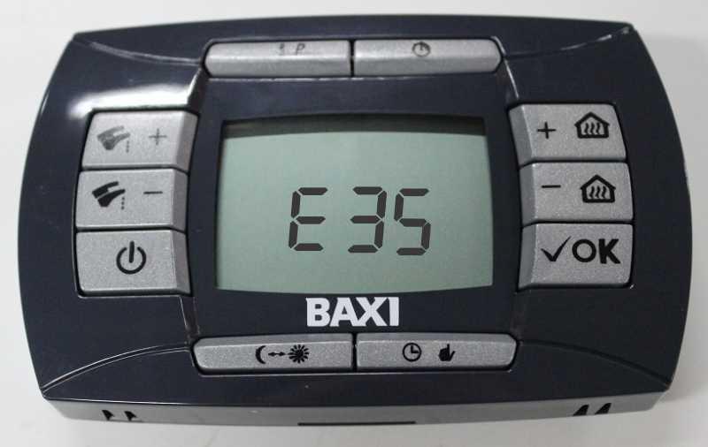 Отображение ошибки е35 на панели управления котла Baxi