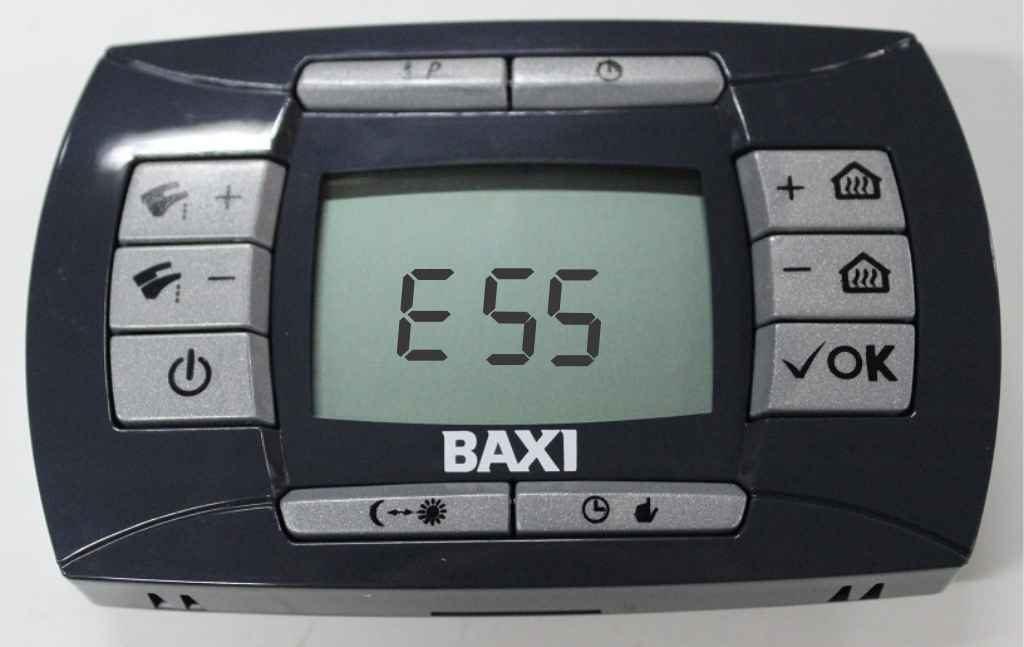Ошибка е55 на панели управления котлом Baxi