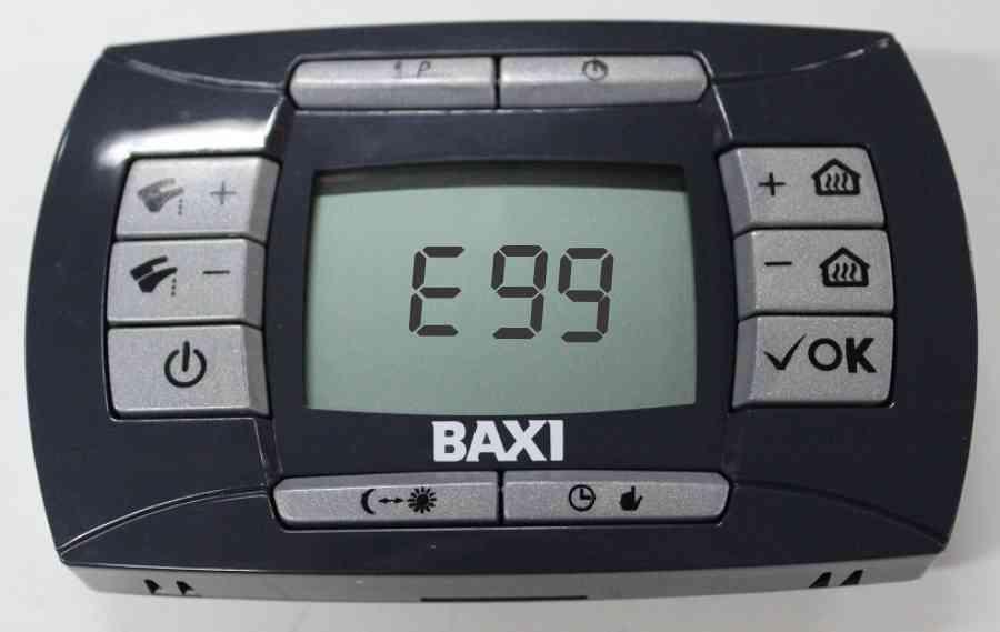 Ошибка е99 на панели управления Baxi