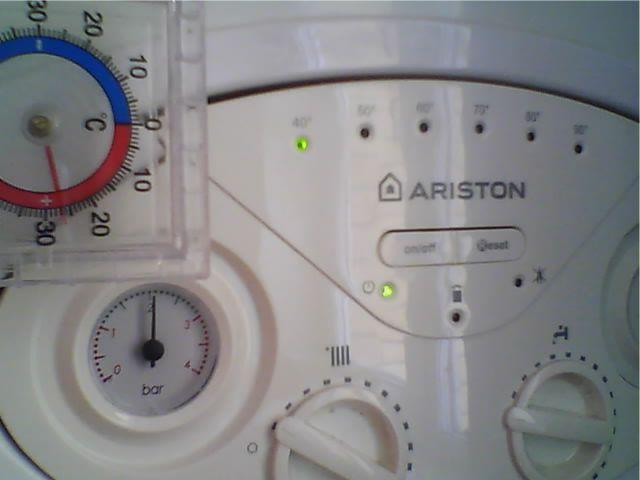 Отображение давления и температуры на котле Ariston