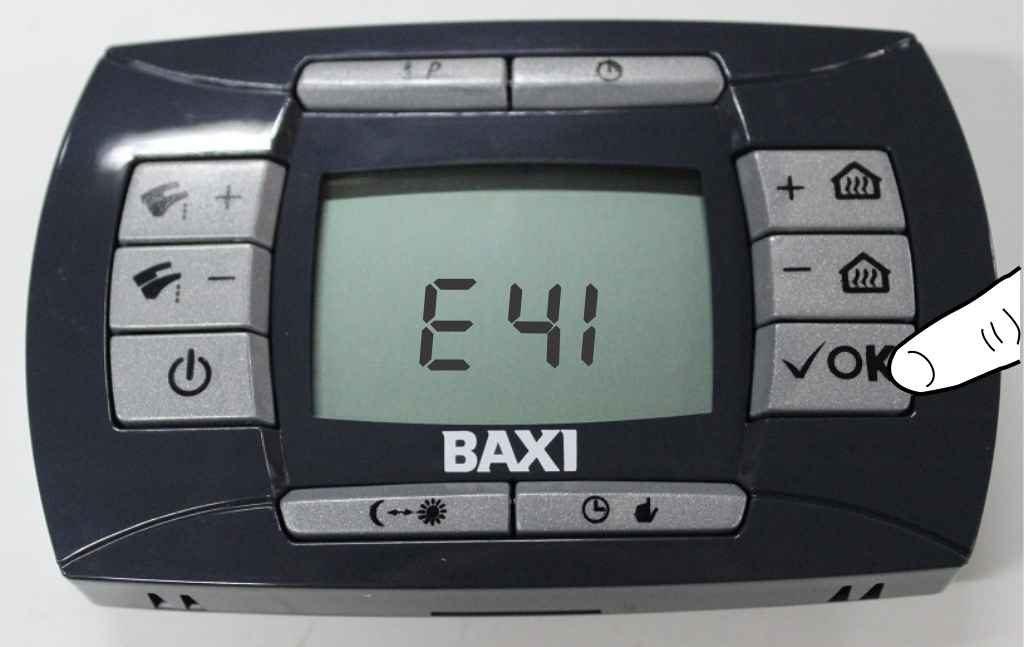 Перезапустите котел baxi с Ошибкой е 41 на панели управления