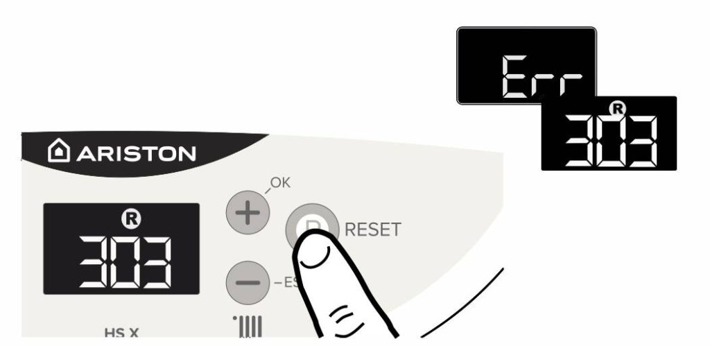 Нажмите на кнопку Reset для сброса ошибки 303 на панели управления котлом Аристон