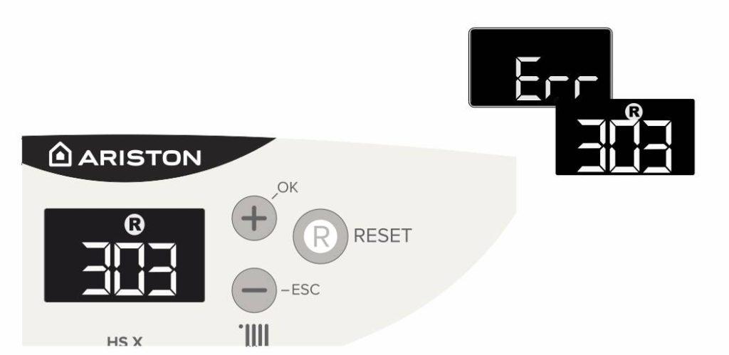 Ошибка 303 на панели управления котлом Аристон