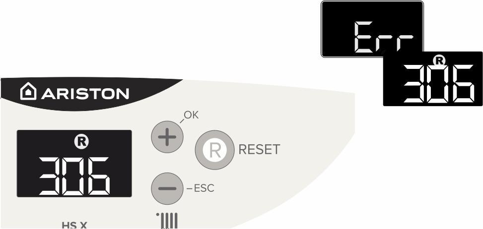 Отображение ошибки 306 на панели управления котлом Аристон