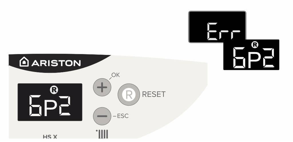 Отображение ошибки 6р2 на панели управления котлом Аристон
