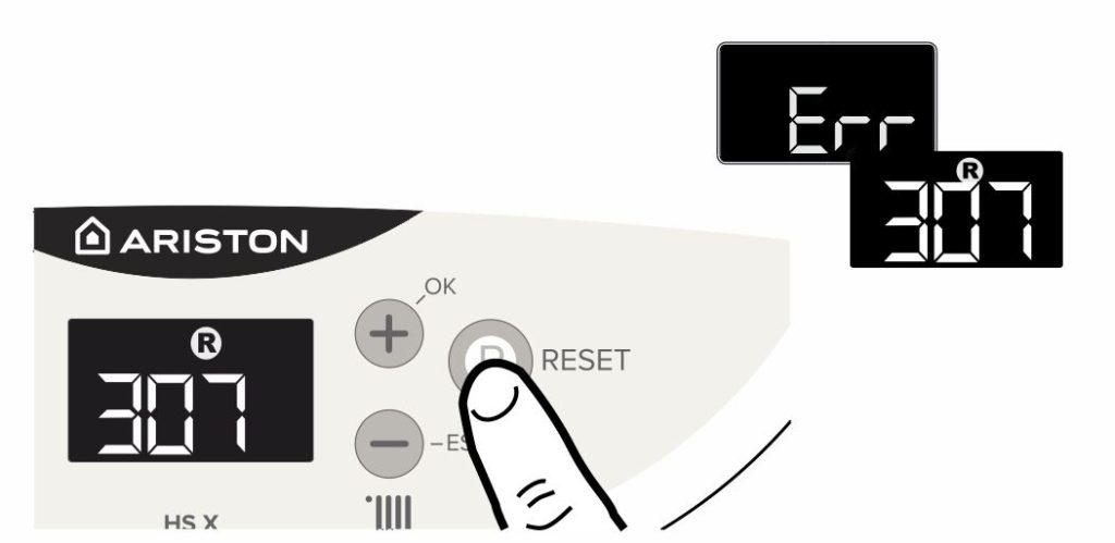 Сброс ошибки 307 на панели управления котлом Аристон