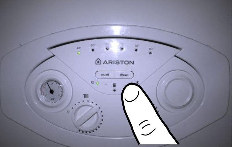 Нажмите кнопку сброса для устранения ошибки SP3 на панели управления котлом Ariston