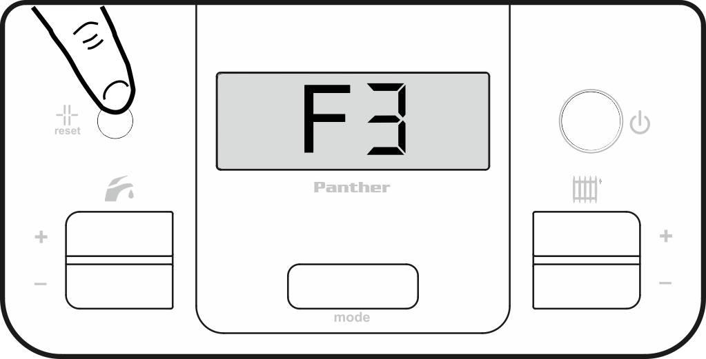 Сброс ошибки F3 на панели управления котла Protherm Пантера