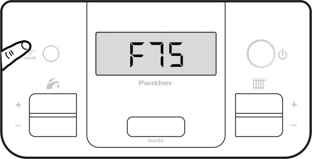 Нажмите кнопку сброса для устранения ошибки F75 на панели управления котлом Protherm