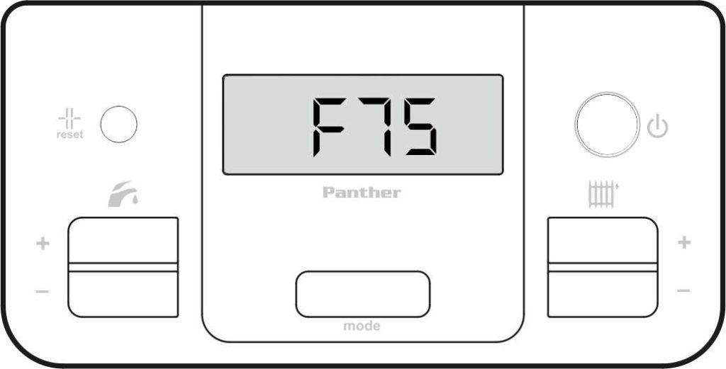 Ошибка F75 на панели управления котлом Protherm Гепард
