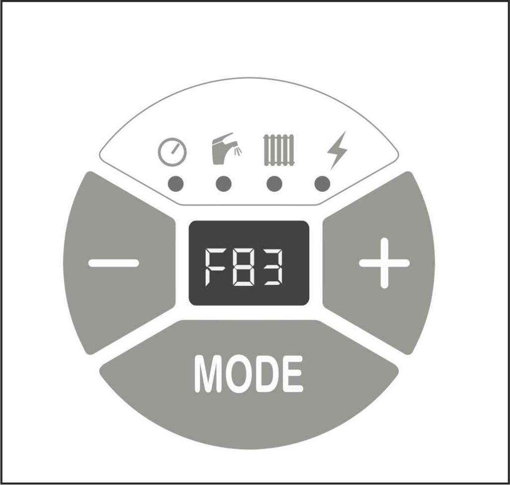 Отображение ошибки F83 на панели управления котлом Protherm