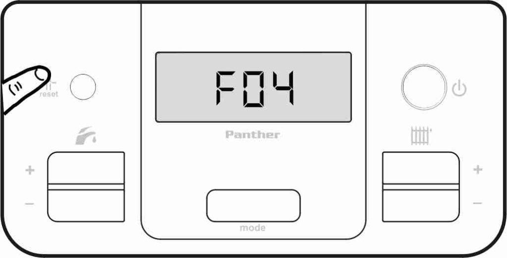 Сброс ошибки F04 на панели управления котлом Protherm