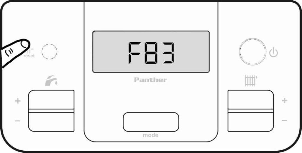 Сброс ошибки F83 на панели управления котлом Protherm.