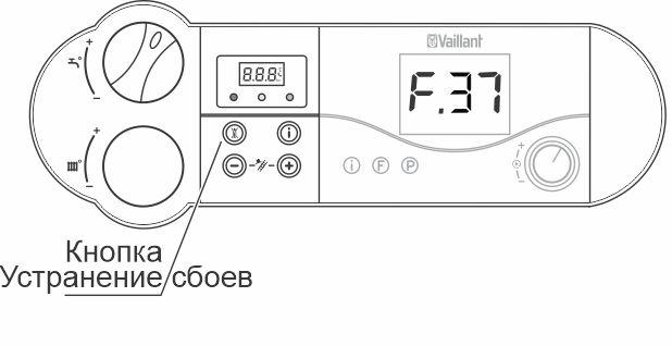 Кнопка для сброса ошибки F37 для котлов atmoTEC pro, turboTEC pro