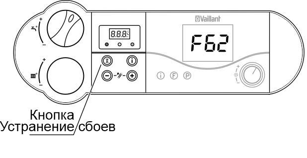 Нажмите кнопку сброса на панели управления котлом Vaillant для устранения ошибки f 62