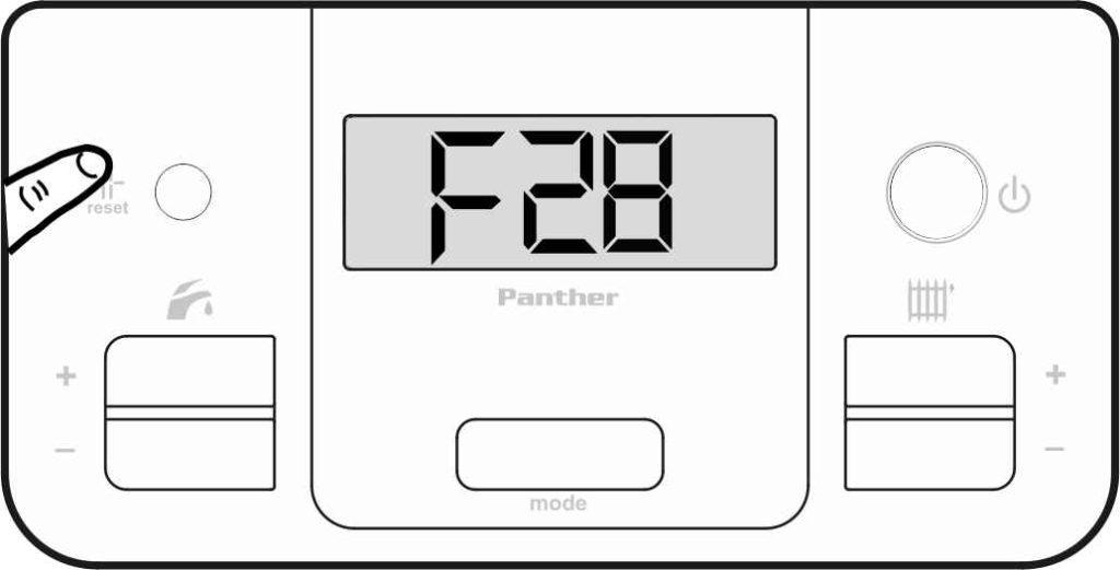 Сбросьте ошибку F28 на панели управления котлом Protherm