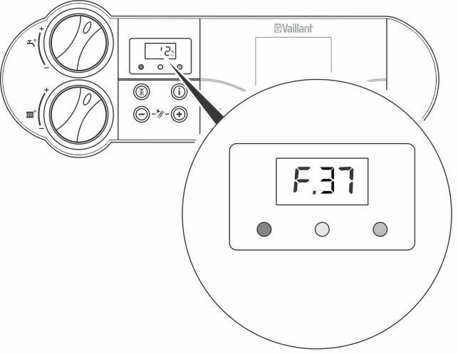 Отображается ошибка F37 на панели управления котлом Vaillant