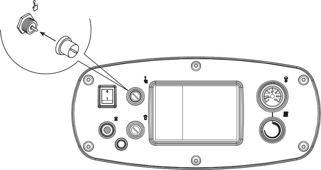Для восстановления рабочего режима генератора, необходимо отвинтить черный колпачок и нажать на находящуюся под ним кнопку